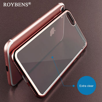 Roybens For iPhone 7 Clear Case Luxury Plating Silicone Cover For iPhone 7 Plus Glitter Gilded TPU Frame Transparent Back Bag