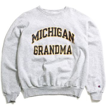 University of Michigan Grandma Champion Crewneck Sweatshirt Ash Grey (XL)