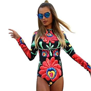 Nclagen 2016 New Autumn Sexy Bodysuits Women Flowers Print Rompers Overalls One Piece Playsuit Bodycon Overalls Club Jumpsuit