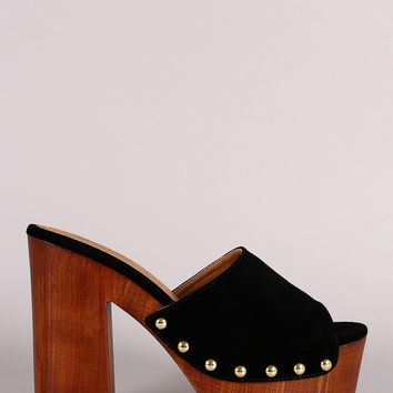 Qupid Nubuck Studded Chunky Faux Wooden Platform Heel