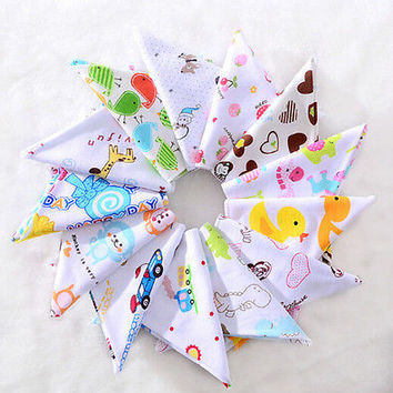 Baby Boys Girls Bibs Toddler Bandana Triangle Head Scarf Saliva Towel HU