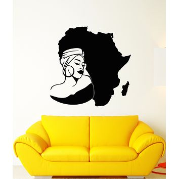 Vinyl Wall Decal Africa Continent Map African Girl Turban Stickers (3300ig)