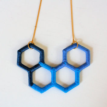 Unique Upcycled Geometric Necklace in Blue