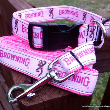 Pink camo Browning- adjustable dog collar and leash SET. choose YOUR size.