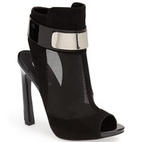 Women's GUESS 'Anavey' Suede & Mesh Peep Toe Bootie