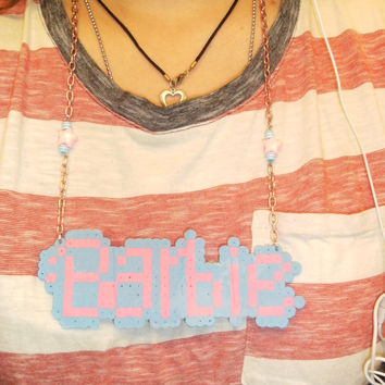 Kawaii Kitch Fairy Kei Barbie Logo Perler Bead plastic Statement Necklace