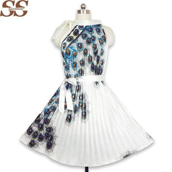 Summer Dress Peacock Feather Print Women A-Line Pleated Dresses Rayon Sleeveless Sexy Party Dress Plus Size S-4XL