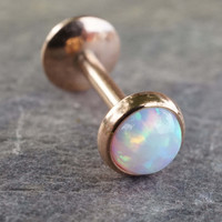 Rose Gold White Fire Opal 16 Gauge Cartilage Earring Tragus Monroe Helix Piercing You Choose Stone Size