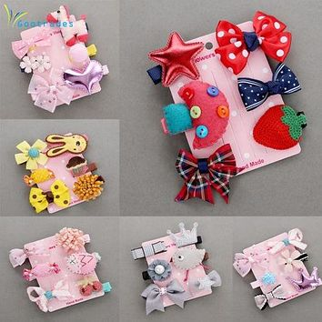 1 Set = 6PCS New Kids Children Accessories Hairpins Barrettes Baby Fabric Bow Flower Headwear Hair clips Girls Headdress