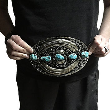 Extra Large Southwest Silver BELT BUCKLE -  Vintage Sterling and Turquois Buckle -  Native American Belt Buckle.