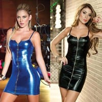 2016 Hot Sale Women Sleeveless Black Leather Dresses Zip Straight Casual Vestido Sexy Latex Dress