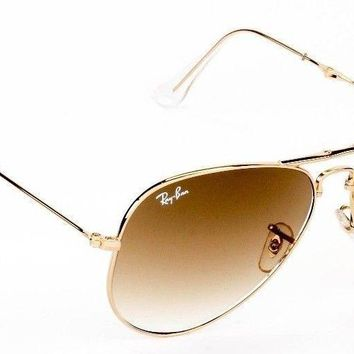 New Ray Ban Arista Aviator Gold Frame Gradient Brown Sunglasses RB3479 001/51 58