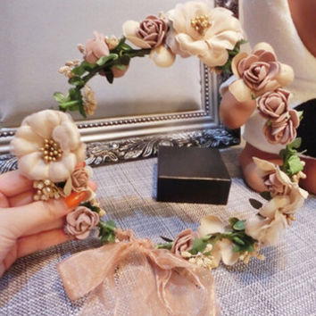 Champagne Hydrangea Flower Hair Crown Wreath Headband For Wedding