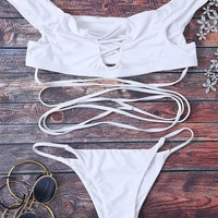 Solid Off The Shoulder Lace Up Bikini Set