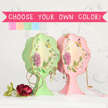 Custom Color Jewelry Organizer Stand - pink, green, peach and blue floral Earrings and Jewelry Tree/ Gift for daughter - gift for sister