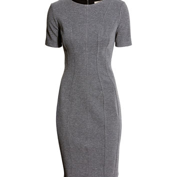 H&M - Melange Dress - Dark gray melange - Ladies