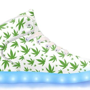 Pot Leaf - APP Controlled High Top LED Shoes