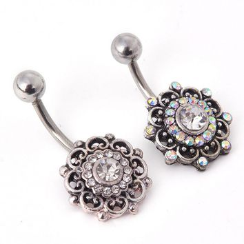Vintage Flower Navel Piercing  Crystal Belly Button Rings Summer Body Piercing   Sexy Navel Piercings Navel Ring