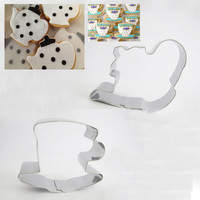 New Stainless Steel Tea Cup & Tea Pot Shape Set Cookie Cutter For Metal Fondant Biscuits Tools