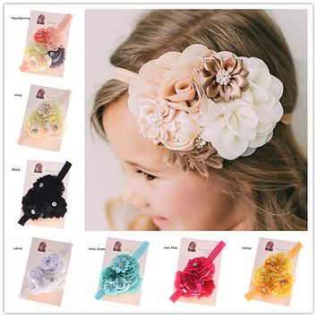 1PCS Shabby Chic Headband  Hair Flowers Headbands Newborn  Hair Bows Hair Accessories Bows Photo Prop