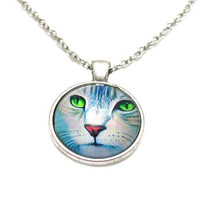 Cat Face Necklace, Cat Face Pendant, Charm Necklace, Charm Jewelry, Cat Face Jewelry, Cat Lover Jewelry, Cat Jewelry, Cat Face Charm