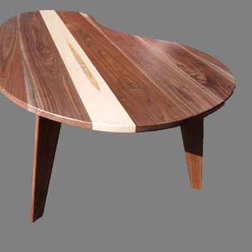 Mid-century Modern Coffee table Walnut with Maple