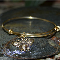 Queen Bee Expandable Bangle bracelet , Bee Bracelet, Brass, Queen Bee, Metal stacked bangle, Bee jewelry, stacking bangle, adjustable bangle