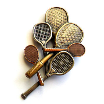 Vintage Racket Brooch Mixed Metal Tennis Racquetball Badminton Brass Copper Silver Bronze Sports Athletics Gym Coach Gift Pin