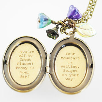 Dr. Seuss Oh the Places You'll Go - Women's Quote Locket - Graduation Gift - College - Back to School