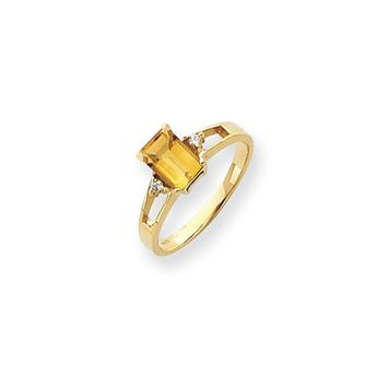 0.04 Ct  14k Yellow Gold 7x5mm Emerald Cut Citrine Diamond Ring VS2/SI1 Clarity and G/I Color