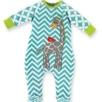 Mud Pie Unisex-Baby Newborn Safari Giraffe Sleeper Footie, Multi, 0-6 Months
