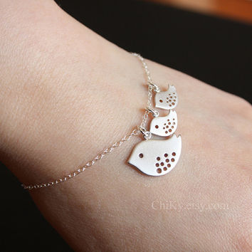 Bird bracelet STERLING SILVER  mother and baby birds  new by chiky