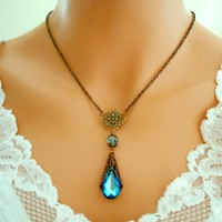 BLUE Peacock Necklace Wedding Jewelry Antiqued Brass VICTORIAN - Vivian Feiler Designs | Wedding