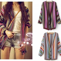Folk Style Retro Color Mix Stripe Knit Cardigan