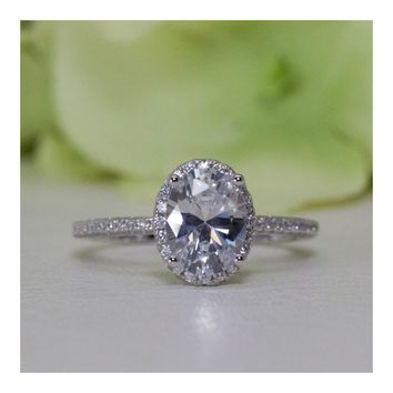 1.50 ct. Sterling Silver Halo Oval CZ Engagement Ring