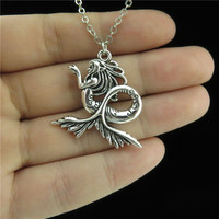 """GLOWCAT Q4A67 1pc Women Friends Jewelry Girls Silver Alloy Mermaid Tail Pendant Short Chain Collar Chunky Necklace 18"""""""