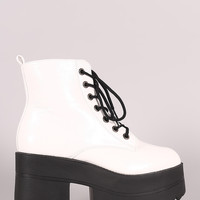 Shoe Republic LA Lace Up Lug Sole Chunky Platform Ankle Boots