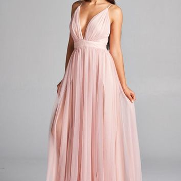 Long Tulle Cocktail Dress
