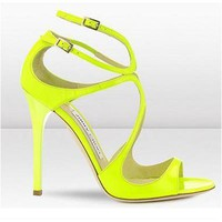 Jimmy Choo Women Fashion Fish Mouth Heels Shoes Sandals