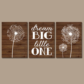 DANDELION Wall Art Flower Artwork Girl Dream Big Brown Wood Grain Custom Colors Modern Set of 3 Prints Decor Bedroom Bathroom Nursery Three
