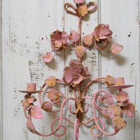 Shabby chic pink wall decor candle holder metal tole style sconce hand painted rusty home decor anita spero