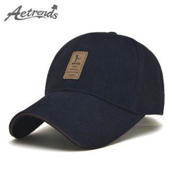 PEAPON [AETRENDS] 2016 New Arrival Men's Cotton Baseball Cap 6 Panel Snapbacks Bone Polo Hat