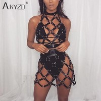 AKYZO Women Body Harness PU Leather Black Dress Punk Adjustable Garter Belt Hollow Out Weaved Belt Backless Dress 2 Piece Set