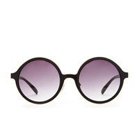 Metal-Trimmed Round Sunglasses