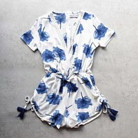 lovecat - sweet floral white + blue chiffon romper
