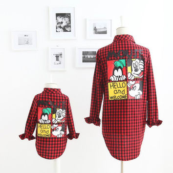 2016 Autumn New Girl Shirts Family Matching Outfits Mouse Cartoon Red Plaid Long Sleeve Fashion Shirts 2-7T M05