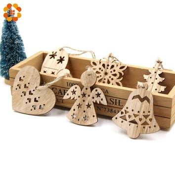 New!6PCS Cute Christmas Snowflakes&Deer&Tree Wooden Pendants Ornaments Christmas Party Decorations Xmas Tree Ornament Kids Gift
