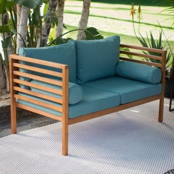 Coral Coast Tovar Outdoor Wood Slat Loveseat | Hayneedle