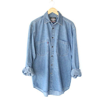 Classic Vintage 80s Blue Denim Shirt - Long Sleeve Button Up Jean Shirt - M / L