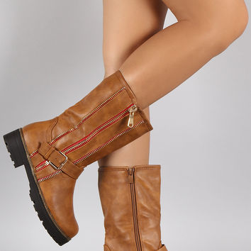 Buckled Zipper Trim Riding Mid Calf Boots